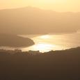 夕照の芦ノ湖